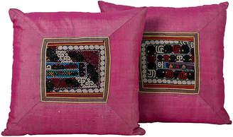 One Kings Lane Vintage Suzani AppliquA Pillows - Set of 2 - Madcap Cottage