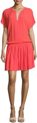 Joie Bryton Smocked-Waist Blouson Dress, Coral