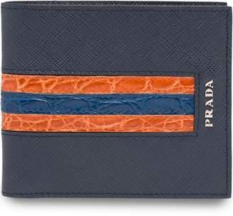 Prada leather mesh bifold wallet