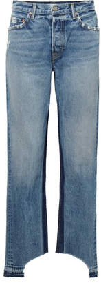 GRLFRND Helena Distressed High-rise Straight-leg Jeans - Mid denim