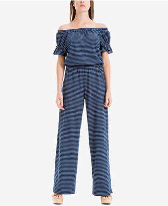 Max Studio London Cotton Off-The-Shoulder Wide-Leg Jumpsuit $118 thestylecure.com