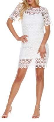 White Mark Women's Crochet Lace Overlay Mini Dress