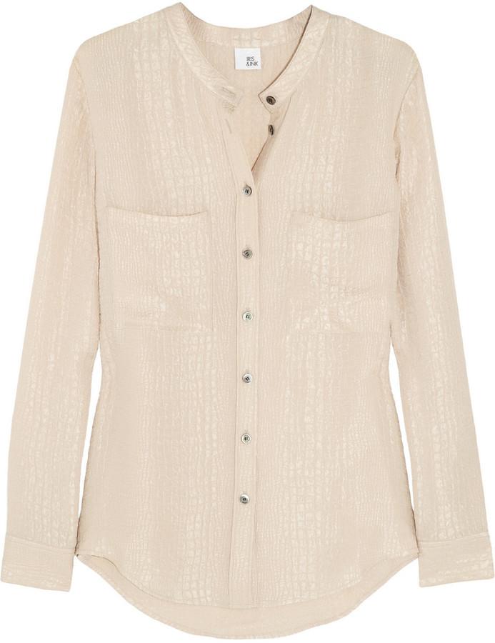 Iris & Ink Corinne matelassé silk shirt