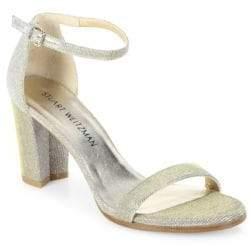 Stuart Weitzman Nearlynude Glitter Block Heel Sandals