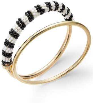 INC International Concepts Trina Turk x I.N.C. Gold-Tone 2-Pc. Set Classic & Beaded Bangle Bracelets, Created for Macy's