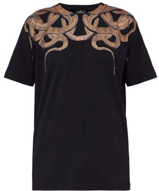 Marcelo Burlon County of Milan Snake Print Cotton Jersey T Shirt - Mens - Black Gold