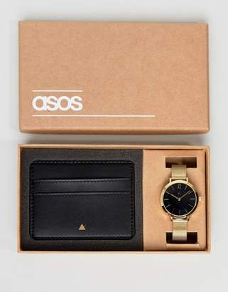 Asos Premium Leather Card Holder And Mesh Watch Gift Set