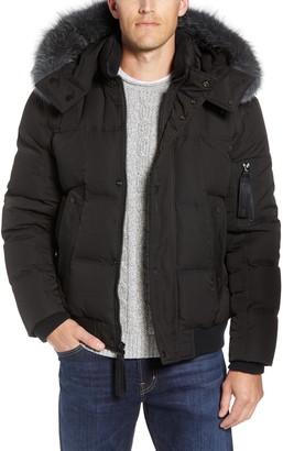Andrew Marc Bennett Genuine Fox Fur Trim Down Bomber Jacket