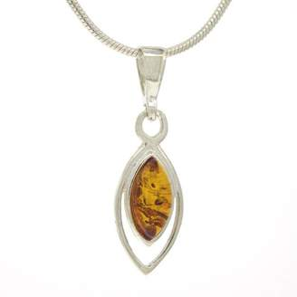 Nova Silver Classic Amber Double Marquise Set Cognac Amber Pendant With 45.5 cm Silver Snake Chain 1jSD5nbV