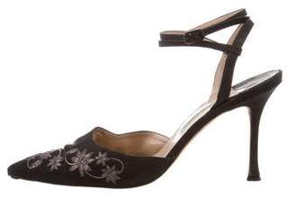 Manolo Blahnik Floral-Embroidered Ankle Strap Pumps