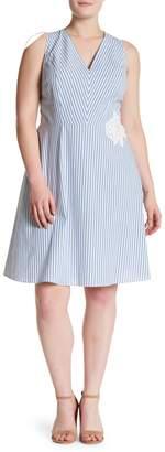 London Times Striped Fit & Flare Dress (Plus Size)