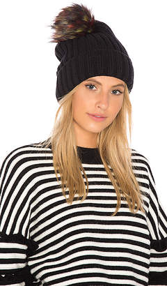 Hat Attack Chunky Rib Beanie with Snap Off Faux Fur Pom