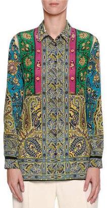 Etro Paisley-Print Silk Blouse, Blue/Turquoise $595 thestylecure.com