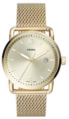 Fossil The Commuter Three-Hand Goldtone Stainless Steel Watch