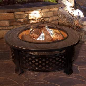Pure Garden Steel Wood Burning Fire Pit Table