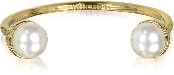 Tory BurchTory Burch 16K Gold Plate Brass Pearl Bud Cuff
