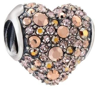 Swarovski Chamilia Sterling Silver Pave Multi Crystal Heart Charm