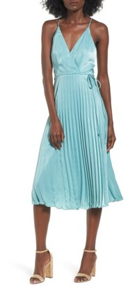 Women's Lush Pleated Satin Dress $55 thestylecure.com