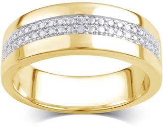 Generic Diamond Accent 14kt Gold Flash Plated Brass Two Row Men's Wedding Band