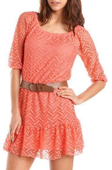 Charlotte Russe Belted Crochet Ruffle Hem Dress
