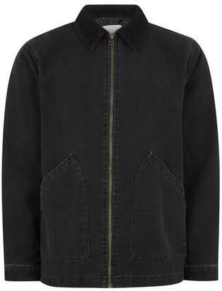 Topman Mens Black Corduroy Collar Jacket