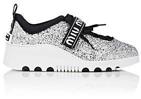 Miu Miu Women's Logo-Strap Glitter Platform Sneakers - Silver