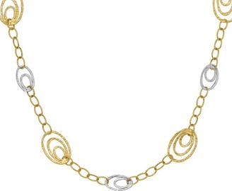 14K Two-tone Oval Nested Link Necklace, 4.1g