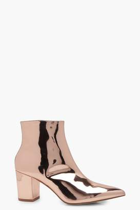 boohoo Freya Metallic Pointed Ankle Boots