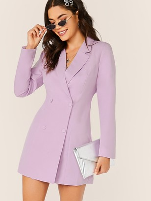 Shein Notched Collar Double Breasted Blazer Dress