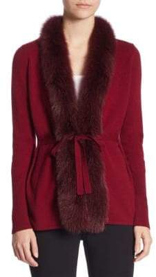 Saks Fifth Avenue COLLECTION Fox Fur-Trimmed Cardigan