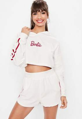 Missguided Barbie x White Towelling Cropped Hoodie