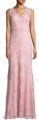 Tadashi Shoji V-Neck Sleeveless Lace Applique Dress