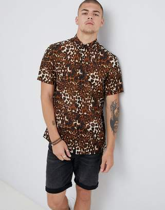 Asos Design DESIGN regular fit sheer leopard animal print shirt in brown