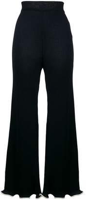 Stella McCartney ribbed frilled kick flare trousers