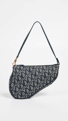 Christian Dior What Goes Around Comes Around Navy Canvas Saddle Mini
