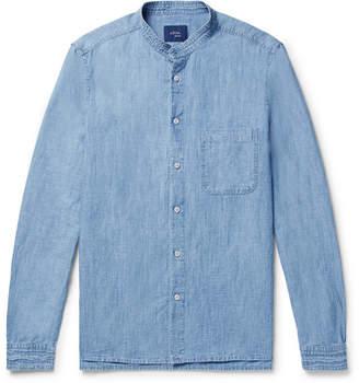 Altea Grandad-Collar Slub Cotton and Linen-Blend Chambray Shirt