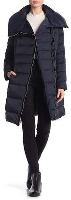Tahari Asymmetrical Zip Quilted Feather and Down Filled Jacket