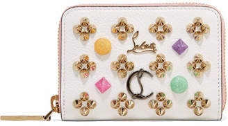 Christian Louboutin Panettone Spiked Textured-leather Wallet - White