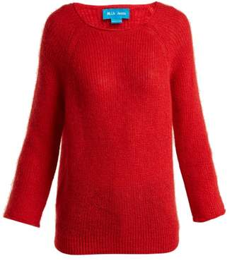 MiH Jeans Bowen Boat Neck Mohair Blend Sweater - Womens - Red