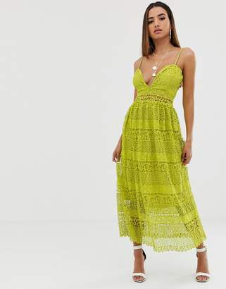 Missguided strappy lace tiered midi dress in yellow