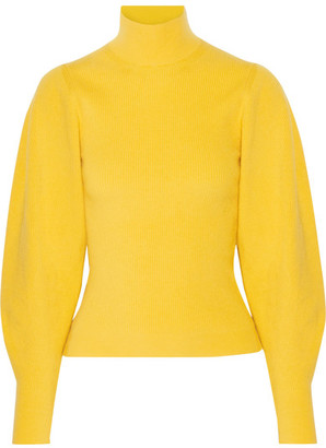 Mugler - Ribbed Wool-blend Turtleneck Sweater - Yellow $1,090 thestylecure.com