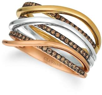 LeVian Le Vian Women's Chocolatier14K Gold and Chocolate Diamond Ring - Tri-color, Size 7