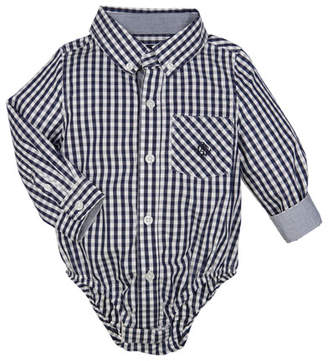 Andy & Evan Collared Long-Sleeve Gingham Bodysuit, Size 3-24 Months