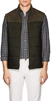 Luciano Barbera Men's Suede-Trimmed Quilted Vest