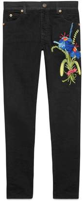 Gucci Unskilled Worker embroidered denim pant