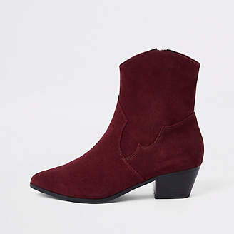 River Island Brown suede western ankle boots