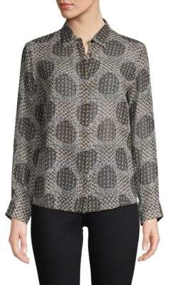 Max Mara Printed Silk Button-Down Shirt
