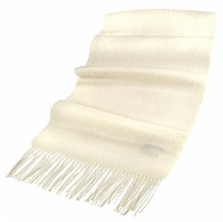 Basile Extra-Soft Cream White Cashmere Long Scarf
