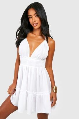 boohoo Petite Ruched Waist Frill Halter Neck Beach Dress