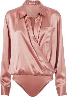 T by Alexander Wang Silk Shirt Bodysuit